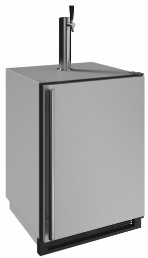 """1224KEGRSOD00A U-Line 24"""" 1000 Series Outdoor Keg Refrigerator with LED Lighting and Digital Touch Pad Controls - Field Reversible - Stainless Steel"""