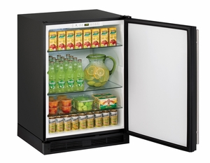 "1224RB-00B U-Line 1000 Series 24"" Solid Door Refrigerator - Field Reversible - Black"