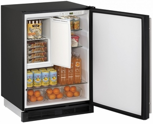 "1224RFB-00B U-Line 24"" Wide 1000 Series Combo Refrigerator / Freezer - Field Reversible - Black"