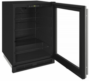"""1224RGLS-00A U-Line 24"""" 1000 Series Glass Door Refrigerator with LED Lighting and Digital Touch Pad Controls - Reverisble Hinge - Stainless Steel"""