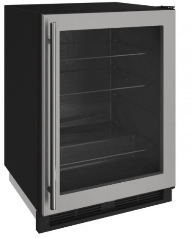 """1224RGLS00A U-Line 24"""" 1000 Series Glass Door Refrigerator with LED Lighting and Digital Touch Pad Controls - Reverisble Hinge - Stainless Steel"""
