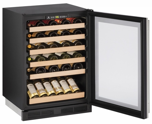 """1224WCS00B U-Line 1000 Series 24"""" Wide Wine Captain with Digital Cooling - Field Reversible - Stainless Steel Frame"""
