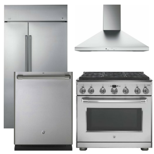 Package CAFE5 - GE Cafe Appliance Built In Package - 4 Piece Cafe Appliance Package with Professional Gas Range - Stainless Steel