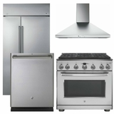 Package CAFE5 - GE Cafe Appliance Built In Package - 4 Piece Cafe Appliance Package with Professional Gas Range - Includes Free Hood - Stainless Steel