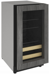 """2218BEVINT00A U-Line 18"""" 2000 Series Integrated Frame Beverage Center with LED Lighting and Three Adjustable Tempered Glass Shelves - Field Reversible - Custom Panel"""