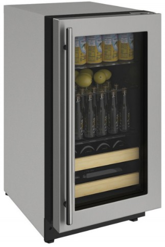 "2218BEVS00A U-Line 18"" 2000 Series Stainless Frame Beverage Center with LED Lighting and Three Adjustable Tempered Glass Shelves - Field Reversible - Stainless Steel"