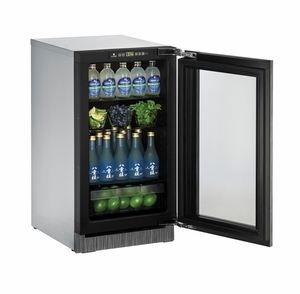 "2218RGLINT-00B U-Line 2000 Series 18"" Glass Door Refrigerator - Reversible Hinge - Integrated Frame"
