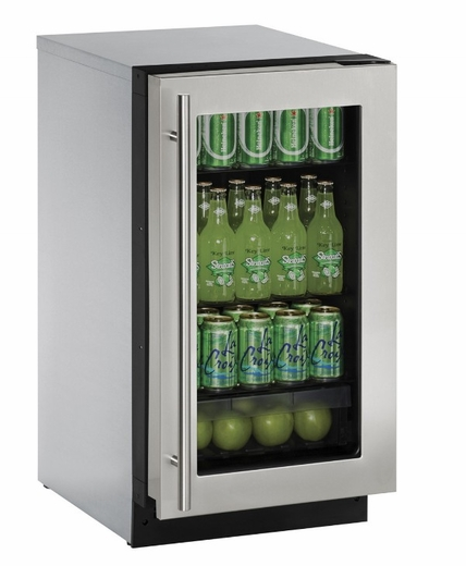 "2218RGLS00B U-Line 2000 Series 18"" Glass Door Refrigerator with Clear Crisper Drawer and LED Lighting - Reversible Hinge - Stainless Steel"