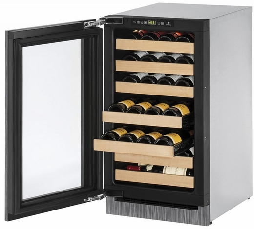 """2218CINT00A U-Line 2000 Series 18"""" Wide Wine Captain with Digital Convection Cooling - Left Hand Hinge - Integrated Frame Custom Panel"""