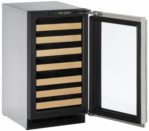 """2218WCS00B U-Line 2000 Series 18"""" Wide Wine Captain with Digital Convection Cooling - Reversible Hinge - Stainless Steel"""