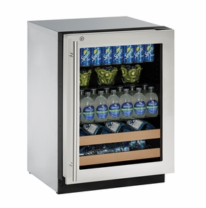 "2224BEVS-13B U-Line 2000 Series 24"" Beverage Center with Lock - Right Hinge - Stainless Frame"