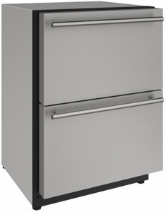 """2224DWRS00A U-Line 24"""" 2000 Series Stainless Solid Refrigerator Drawers with LED Lighting and Digital Touch Pad Controls - Stainless Steel"""