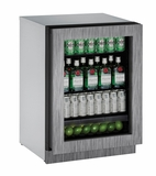 """2224RGLINT-01A U-Line 2000 Series 24"""" Glass Door Refrigerator - Left Hinge - Integrated Frame- CLOSEOUT MODEL LAST ONE"""