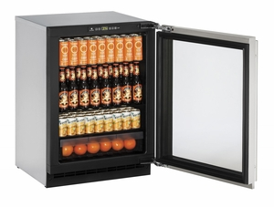 "2224RGLS-13B U-Line 2000 Series 24"" Glass Door Refrigerator with Lock - Right Hinge - Stainless Steel"