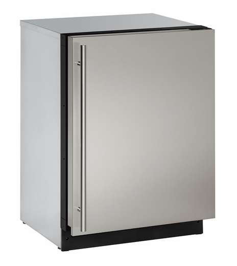 "2224RS00B U-Line 2000 Series 24"" Solid Door Refrigerator - Reversible Hinge - Stainless Steel"