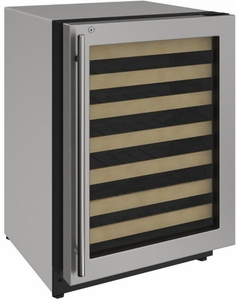 "2224WCS-13A U-Line 2000 Series 24"" Wide Wine Captain with Convection Cooling System and Lock - Right Hinge - Stainless Steel Frame"