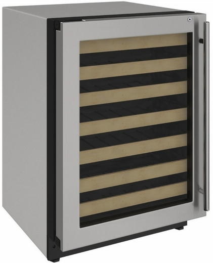 """2224WCS15A U-Line 2000 Series 24"""" Wide Wine Captain with Convection Cooling System and Lock - Left Hinge - Stainless Steel Frame"""