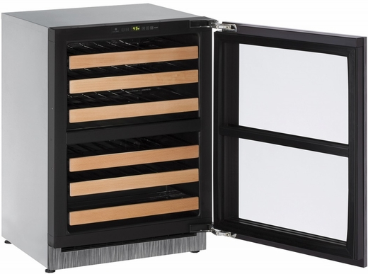 """2224ZWCINT00B U-Line 2000 Series 24"""" Wide Wine Captain with Independently Controlled Dual Zones - Reversible Hinge - Integrated Frame Custom Panel"""