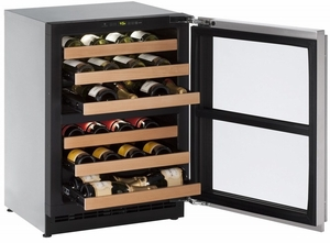 "2224ZWCS-13B U-Line 2000 Series 24"" Wide Wine Captain with Independently Controlled Dual Zones - Right Hand Hinge with Lock - Stainless Steel"