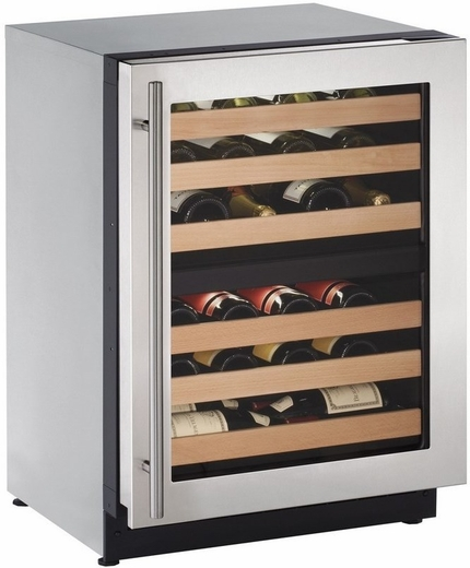 "2224ZWCS13B U-Line 2000 Series 24"" Wide Wine Captain with Independently Controlled Dual Zones - Right Hand Hinge with Lock - Stainless Steel"