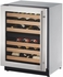 "2224ZWCS15B U-Line 2000 Series 24"" Wide Wine Captain with Independently Controlled Dual Zones - Left Hand Hinge with Lock - Stainless Steel"
