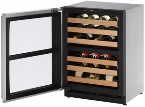 "2224ZWCS-15B U-Line 2000 Series 24"" Wide Wine Captain with Independently Controlled Dual Zones - Left Hand Hinge with Lock - Stainless Steel"