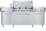 291001 Weber Summit Grill Center with 6 Burners and Tuck-Away Rotisserie - Liquid Propane - Stainless Steel