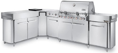 297001 Weber Summit Grill Center with Social Area and Dual-Ring Side Burner  - Liquid Propane - Stainless Steel