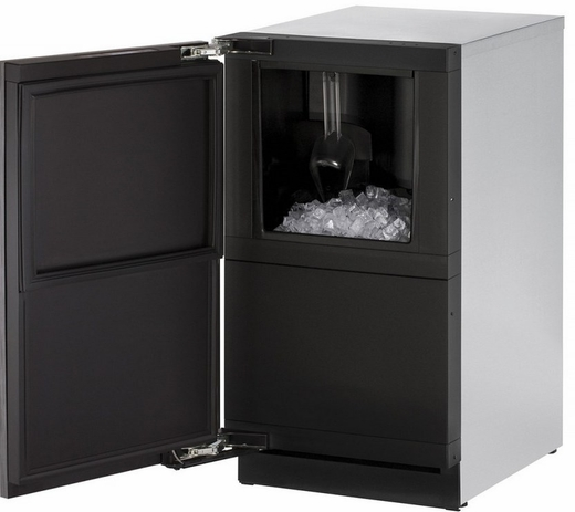 "3018CLRINT01A U-Line 3000 Modular Series 18"" Wide Clear Ice Machine - Left Hand Hinge - Pump Not Included - Integrated Solid Custom Panel"
