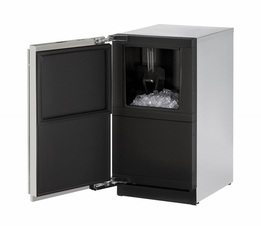 """3018CLRS01A U-Line 3000 Modular Series 18"""" Wide Clear Ice Machine - Left Hand Hinge - Pump Not Included - Stainless Steel"""