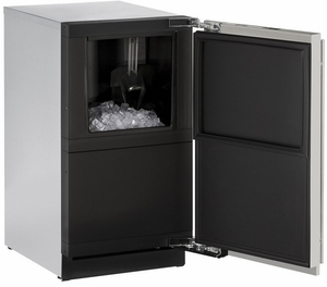 "3018CLRS-40B U-Line 3000 Modular Series 18"" Wide Clear Ice Machine - Field Reversible Hinge - Pump Included - Stainless Steel"