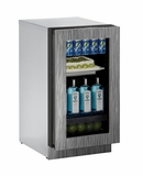 "3018RGLINT00B U-Line Modular 3000 Series 18"" Glass Door Refrigerator - Reversible Hinge - Integrated Frame"