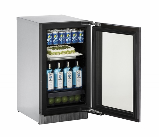 "3018RGLS13B U-Line Modular 3000 Series 18"" Glass Door Refrigerator with Lock - Right Hinge - Stainless Steel Frame"