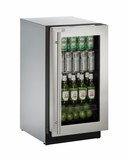 "3018RGLS15B U-Line Modular 3000 Series 18"" Glass Door Refrigerator with Lock - Left Hinge - Stainless Steel Frame"