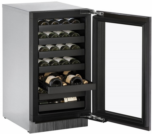 """3018WCINT00B U-Line 3000 Modular Series 18"""" Wide Wine Captain with Convection Cooling - Reversible Hinge - Integrated Frame Custom Panel"""