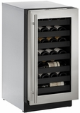 """3018WCS00B U-Line 3000 Modular Series 18"""" Wide Wine Captain with Convection Cooling - Reversible Hinge - Stainless Steel"""