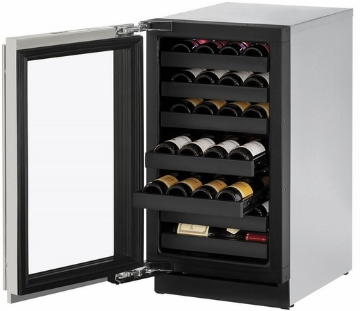 """3018WCS01A U-Line 3000 Modular Series 18"""" Wide Wine Captain with Convection Cooling - Left Hand Hinge - Stainless Steel"""