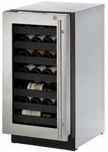 """3018WCS-15B U-Line 3000 Modular Series 18"""" Wide Wine Captain with Convection Cooling - Left Hand Hinge with Lock  - Stainless Steel"""