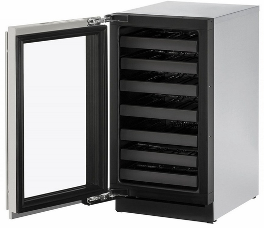 """3018WCS15B U-Line 3000 Modular Series 18"""" Wide Wine Captain with Convection Cooling - Left Hand Hinge with Lock  - Stainless Steel"""