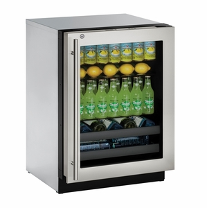 "3024BEVS-15B U-Line Modular 3000 Series 24"" Beverage Center with Lock - Left Hinge - Stainless Frame"