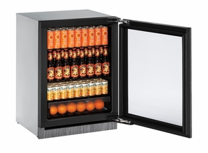 "3024RGLINT-00B U-Line Modular 3000 Series 24"" Glass Door Refrigerator - Reversible Hinge - Integrated Frame"