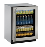 "3024RGLS15B U-Line Modular 3000 Series 24"" Glass Door Refrigerator with Lock - Left Hinge - Stainless Steel Frame"