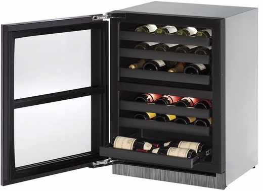"3024ZWCINT01A U-Line 3000 Modular Series 24"" Wine Captain with Independently Controlled Dual Zones - Left Hand Hinge - Integrated Frame Custom Panel"