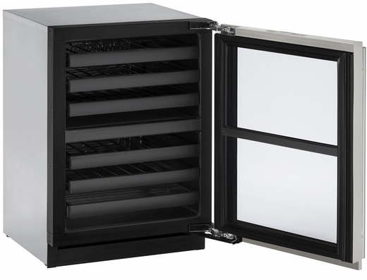 """3024ZWCS00B U-Line 3000 Modular Series 24"""" Wine Captain with Independently Controlled Dual Zones - Reversible Hinge - Stainless Steel"""