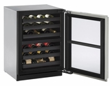 "3024ZWCS00B U-Line 3000 Modular Series 24"" Wine Captain with Independently Controlled Dual Zones - Reversible Hinge - Stainless Steel"