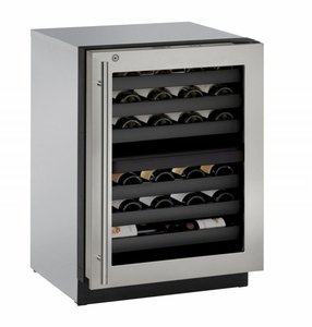 """3024ZWCS13B U-Line 3000 Modular Series 24"""" Wine Captain with Independently Controlled Dual Zones - Right Hand Hinge with Lock - Stainless Steel"""