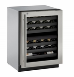 "3024ZWCS13B U-Line 3000 Modular Series 24"" Wine Captain with Independently Controlled Dual Zones - Right Hand Hinge with Lock - Stainless Steel"