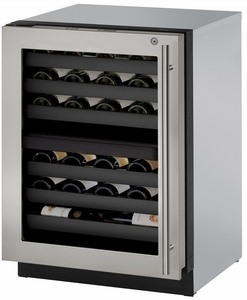 """3024ZWCS-15B U-Line 3000 Modular Series 24"""" Wine Captain with Independently Controlled Dual Zones - Left Hand Hinge with Lock - Stainless Steel"""
