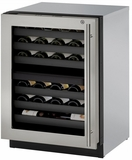 "3024ZWCS15B U-Line 3000 Modular Series 24"" Wine Captain with Independently Controlled Dual Zones - Left Hand Hinge with Lock - Stainless Steel"