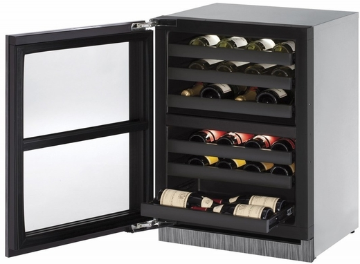 """3024ZWCS15B U-Line 3000 Modular Series 24"""" Wine Captain with Independently Controlled Dual Zones - Left Hand Hinge with Lock - Stainless Steel"""